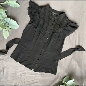 Bebe black button up lace blouse